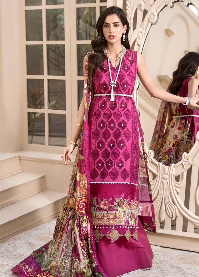 Noor by Saadia Asad Embroidered Lawn Unstitched 3 Piece Suit SA20NL D7 B - Luxury Collection