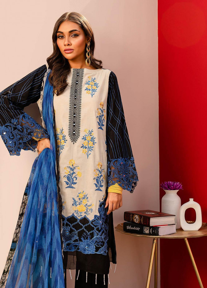 Nureh by Riaz Arts Embroidered Lawn Unstitched 3 Piece Suit NR20EL NJ 01 - Spring / Summer Collection