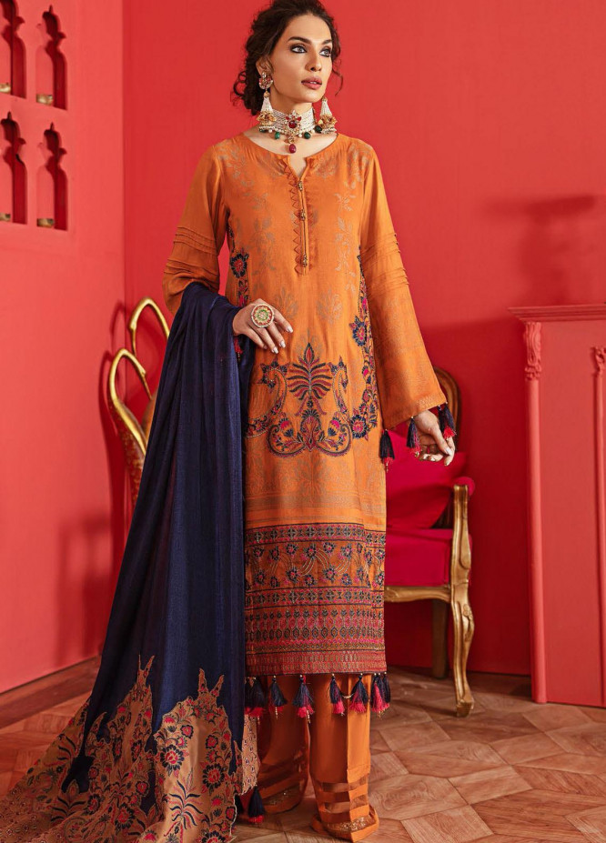 Nureh Embroidered Leather Unstitched 3 Piece Suit N20LJ 11 - Winter Collection