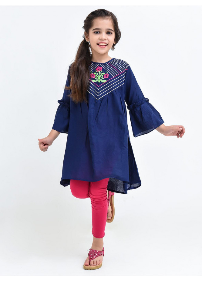 Ochre Cotton Embroidered Girls Top -  OCT 08 Navy