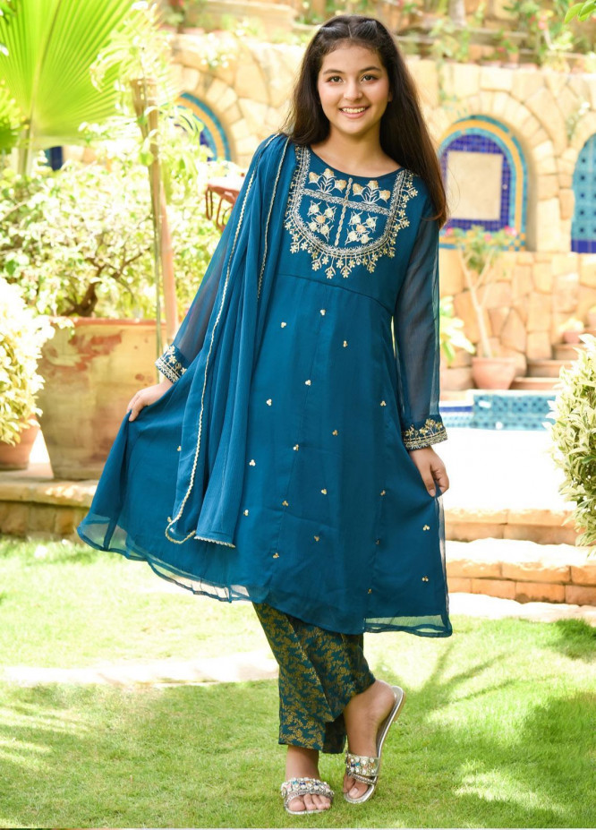 Ochre Chiffon Embroidered Girls 3 Piece Suit -  OFW 274