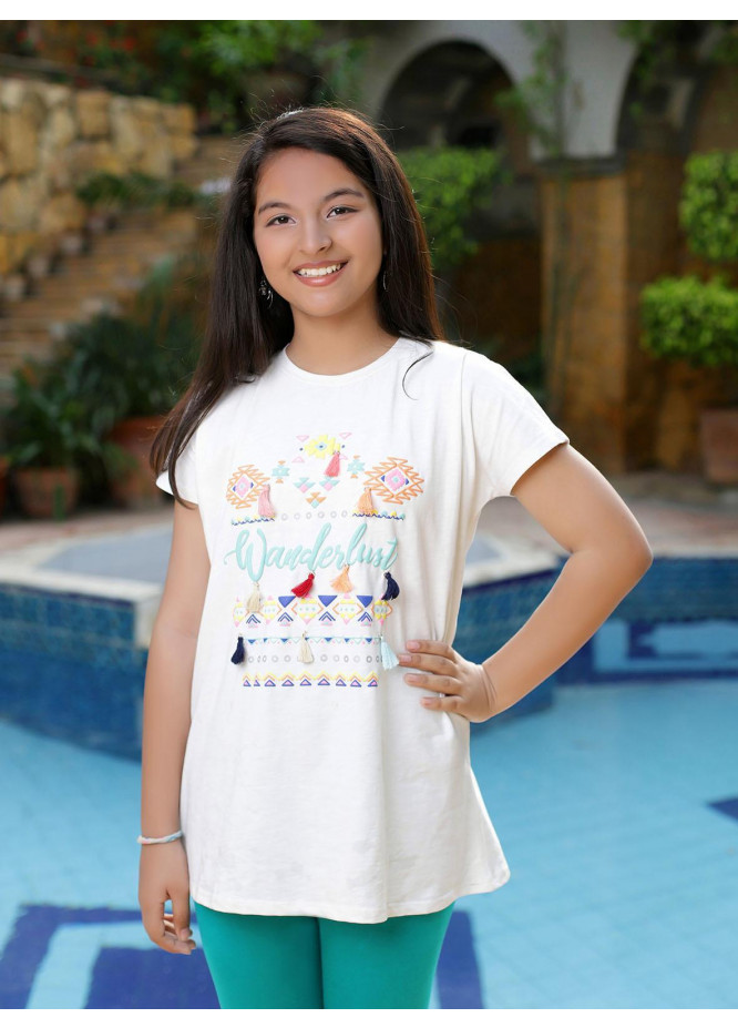 Ochre Cotton Printed Top for Girls -  OGK 39 Off White