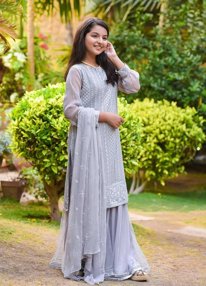 Ochre Chiffon Embroidered 3 Piece Suit for Girls - OFW 286 Grey