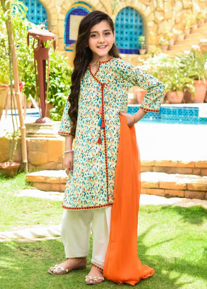 Ochre Lawn Embroidered Girls 3 Piece Suit -  OPL 81 Lime Yellow