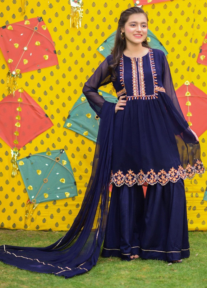 Ochre Chiffon Fancy Girls 3 Piece Suits -  OFW 290 Navy