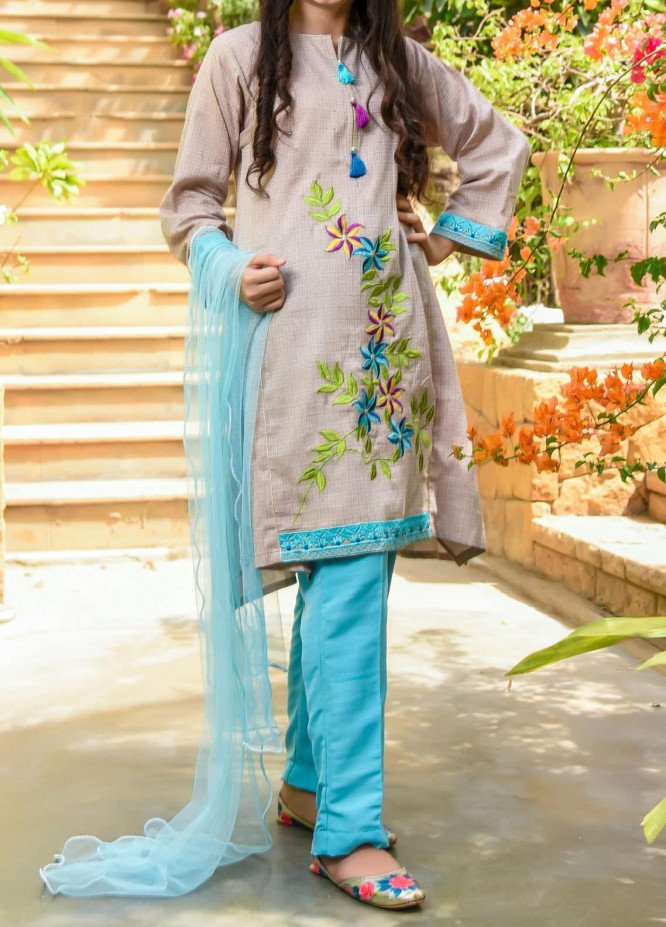 Ochre Chambray Fancy 3 Piece Suit for Girls -  OFK 706 Beige