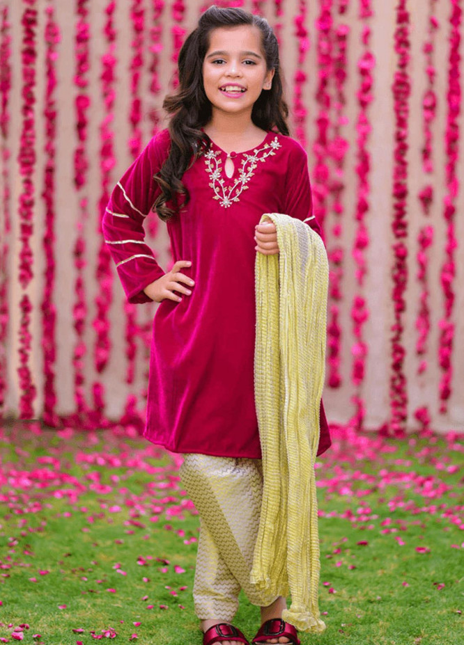 Ochre Velvet Fancy Girls 3 Piece Suits -  OVF-11 HOT PINK