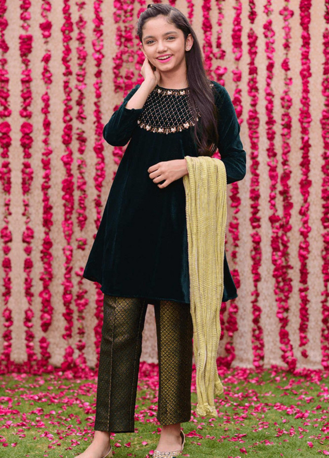 Ochre Velvet Fancy Girls 3 Piece Suits -  OVF-13 GREEN