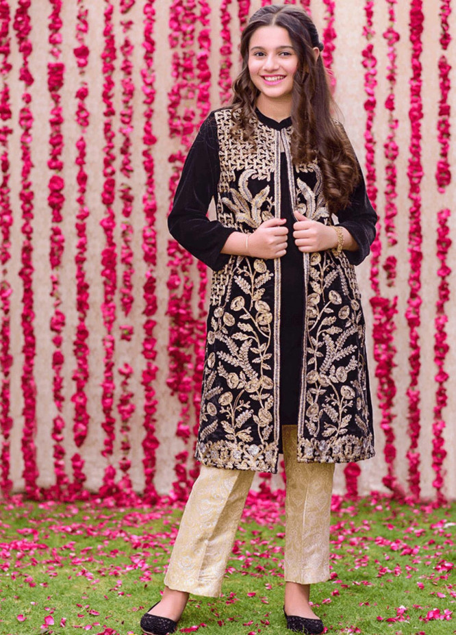 Ochre Velvet Fancy 2 Piece Suits for Girls -  OVF-14 BLACK