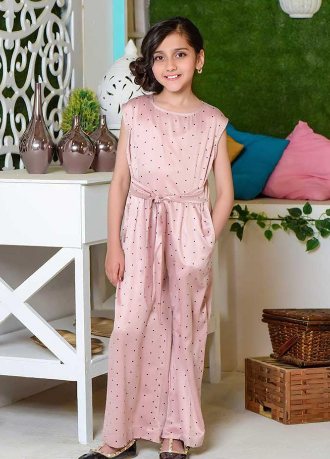 Ochre Georgette Western Girls Jumpsuit -  OWT 360 Peach