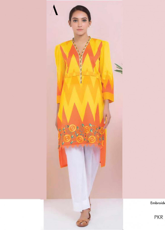 Orient Textile Embroidered Lawn Unstitched Kurties OT20SS 034A - Spring / Summer Collection