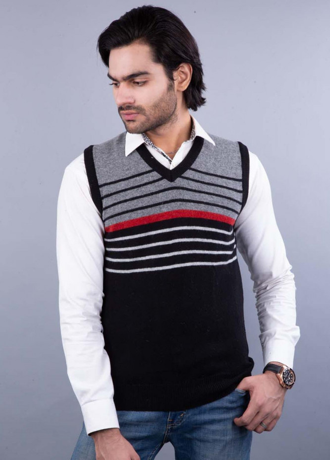 Oxford Lambswool Sleeveless Sweaters for Men -  521 LMB S-L BLACK
