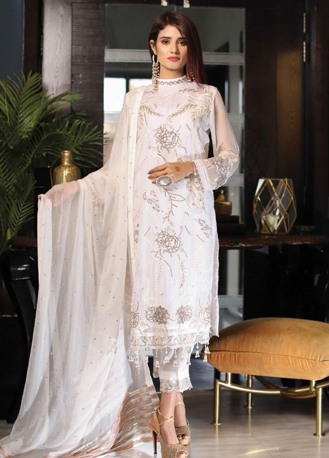 Panache by Puri Fabrics Embroidered Chiffon Unstitched 3 Piece Suit PCH20C 02 Almendra - Luxury Collection