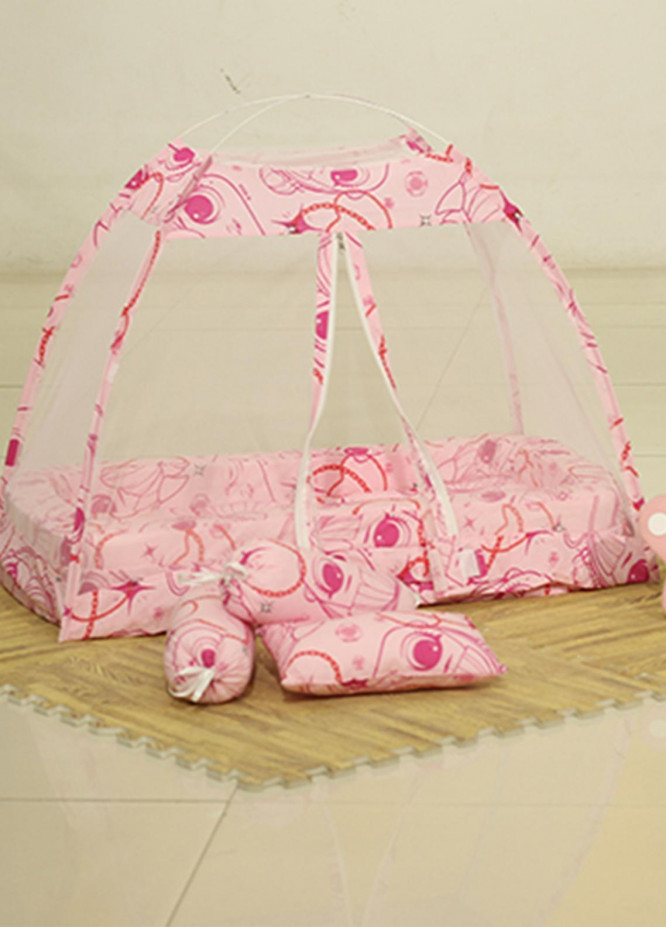 Plush Mink  Fiber Bed Net Set 3 Pieces PEEKABOO Complete Bed Net Set 02 Pink - Baby Products