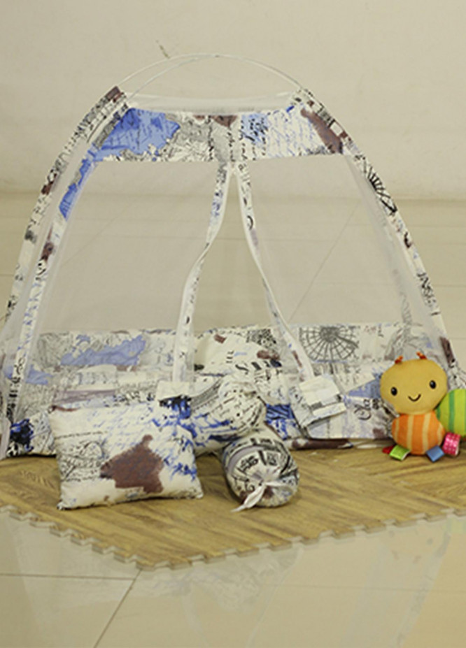 Plush Mink  Fiber Bed Net Set 3 Pieces PEEKABOO Complete Bed Net Set 05 Blue & White - Baby Products