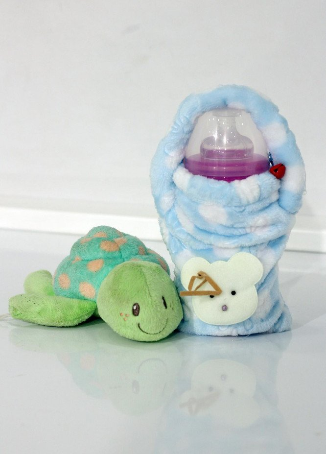 Plush Mink  Velvet Feeder Cover 1 Piece PEEKABOO Feeder Cover 01 Blue - Baby Products