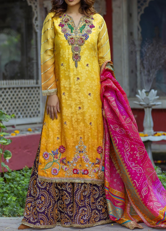 Fayon Embroidered Cotton Net Stitched 3 Piece Suit FN-P107 Amber