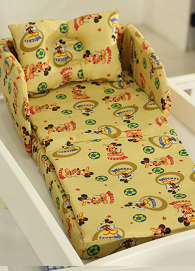 Plush Mink Cotton Folding Bed 3 Pieces Plush Mink Baby Folding Bed 04 Golden Brown - Baby Products