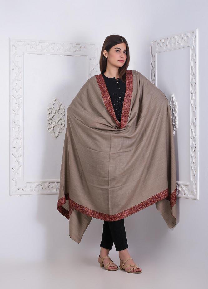 Sanaulla Exclusive Range Embroidered Pashmina  Shawl AKP-276 Fawn - Pashmina Shawls