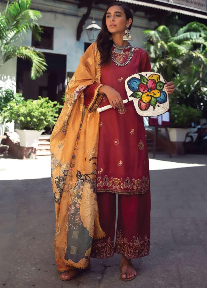 Qalamkar Embroidered Lawn Unstitched 3 Piece Suit QLM20L 09 - Luxury Collection