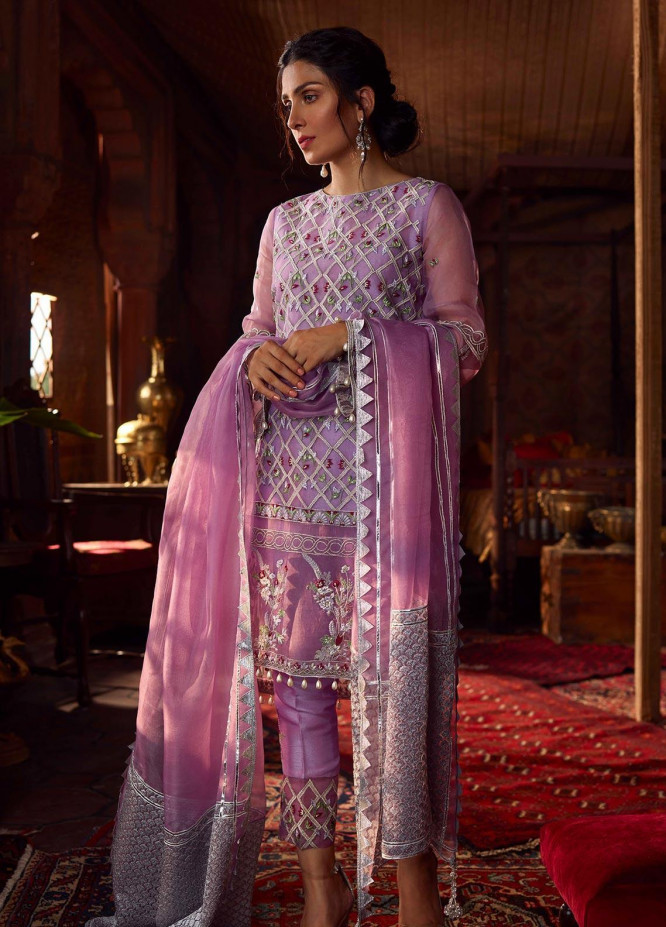 Qalamkar Embroidered Organza Unstitched 3 Piece Suit QLM19WD 09 Azeen - Wedding Collection
