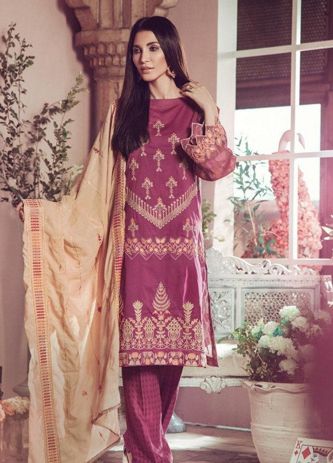 RajBari Embroidered Jacquard Unstitched 3 Piece Suit RB19WF 2B - Winter Collection
