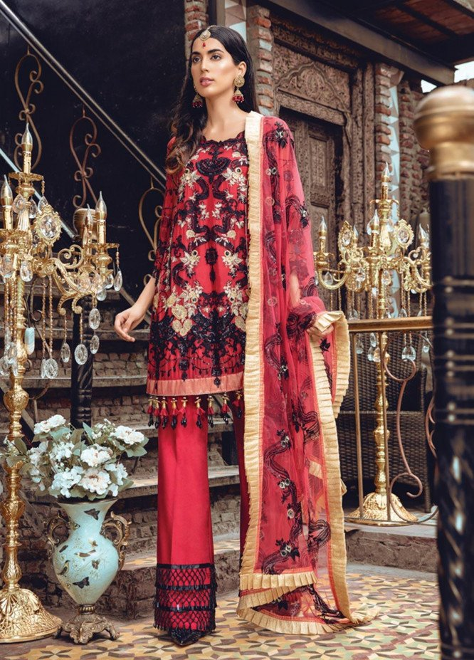 Rang Rasiya Embroidered Chiffon Unstitched 3 Piece Suit RR19MN 909 - Luxury Collection