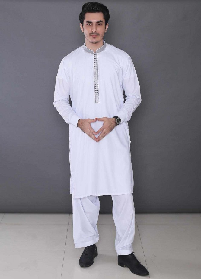 Real Image Wash N Wear Formal Men Kameez Shalwar -  322 White
