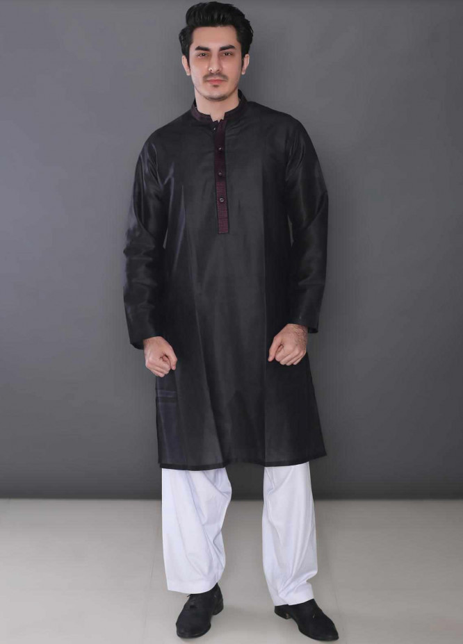 Real Image Cotton Formal Kurtas for Men -  377 Black