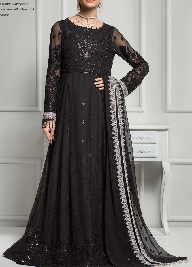 Reveuse Le Tresor by Zarif Embroidered Chiffon Unstitched 3 Piece Suit ZF20RT 02 CHARMISE - Luxury Collection