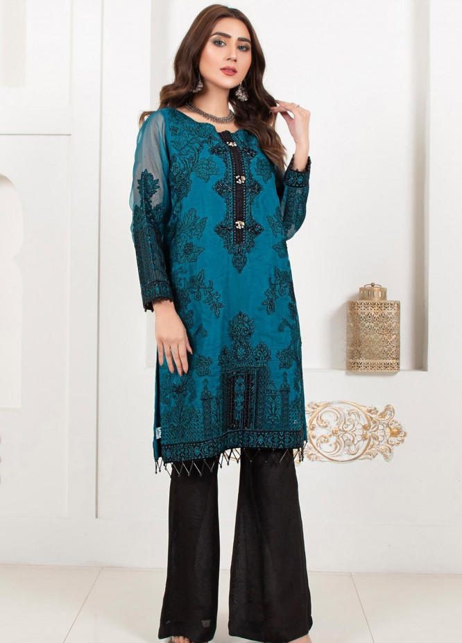 Lush Embroidered Organza Stitched Shirt Cerulean Passion