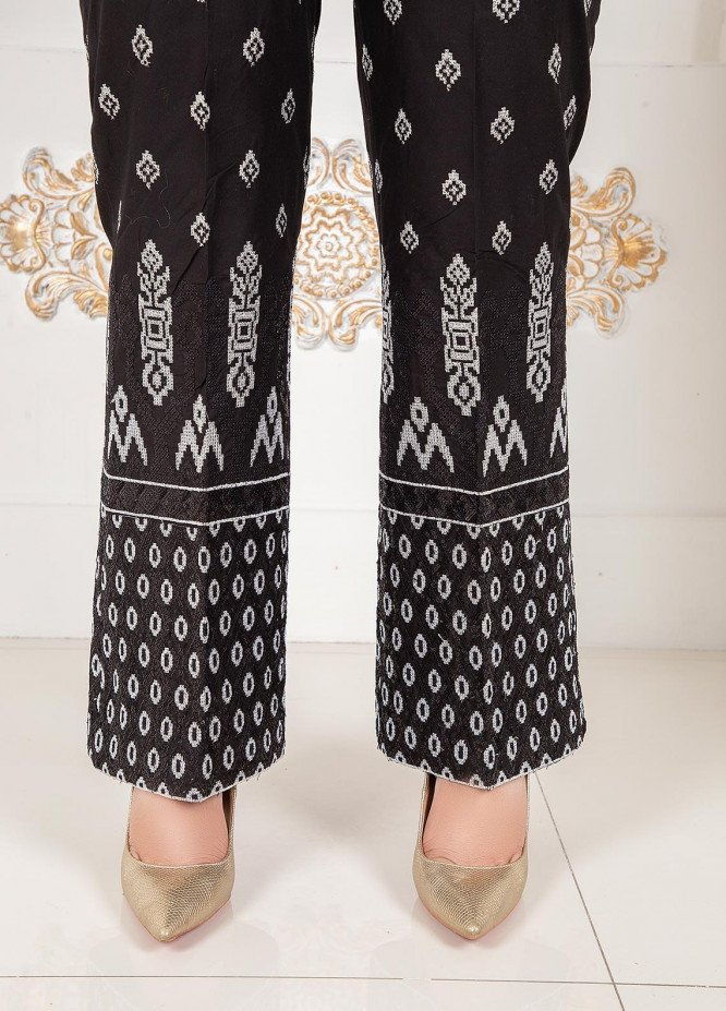 Lush Embroidered Cotton Stitched Trousers Boot Cut Black