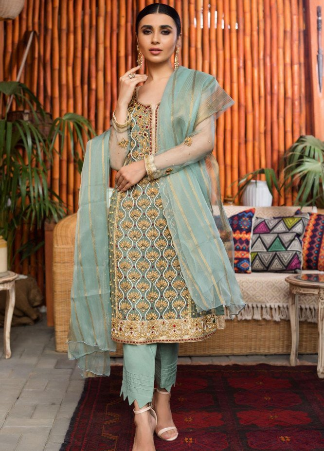 Rizwan Ahmed by Zohan Textiles Embroidered Organza Unstitched 3 Piece Suit ZT20RA D-01 - Festive Collection