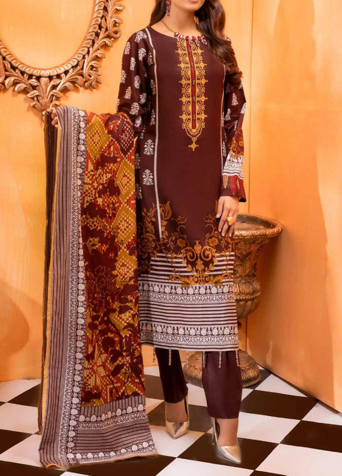Salitex Printed Lawn Unstitched 3 Piece Suit ST20IL-2 27B Brown - Spring / Summer Collection