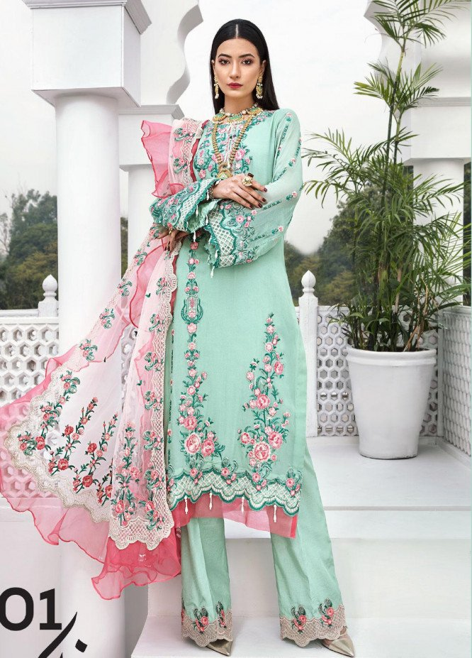 Aadaab by Sana Sheraz Embroidered Chiffon Unstitched 3 Piece Suit SS20F-1 - Festive Collection