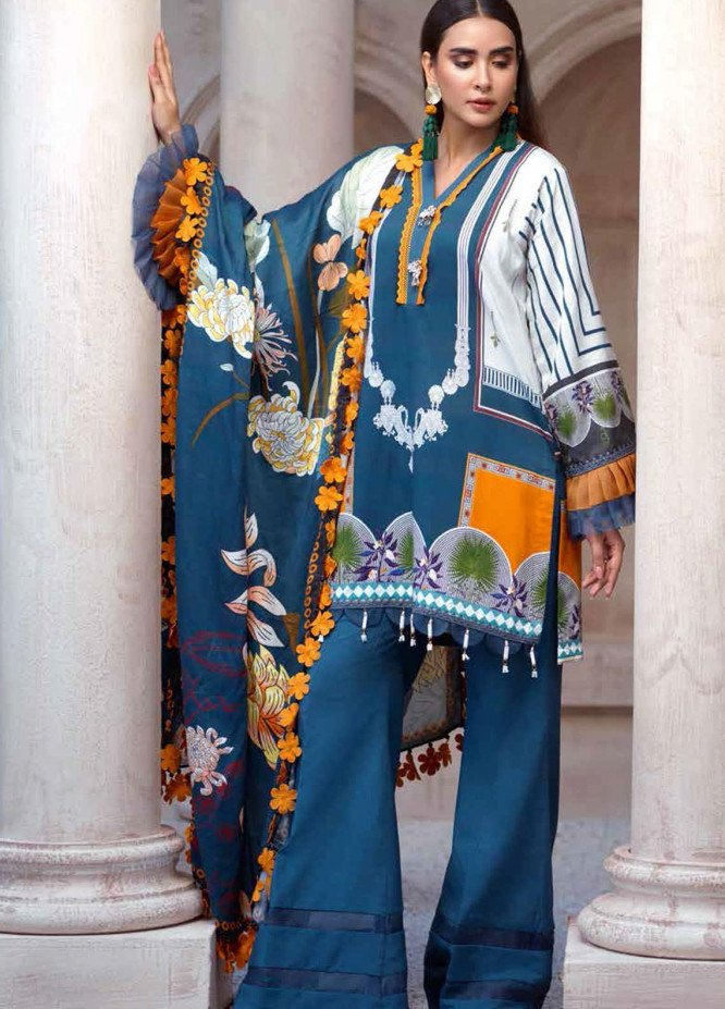 Sarang by Ittehad Textiles Printed Linen Unstitched 3 Piece Suit SG20PW 07 SEA LAVENDER - Winter Collection
