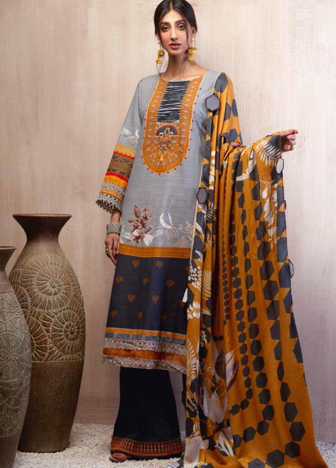 Sarang by Ittehad Textiles Printed Khaddar Unstitched 3 Piece Suit SG20PW 15 DUSTY MILLER - Winter Collection