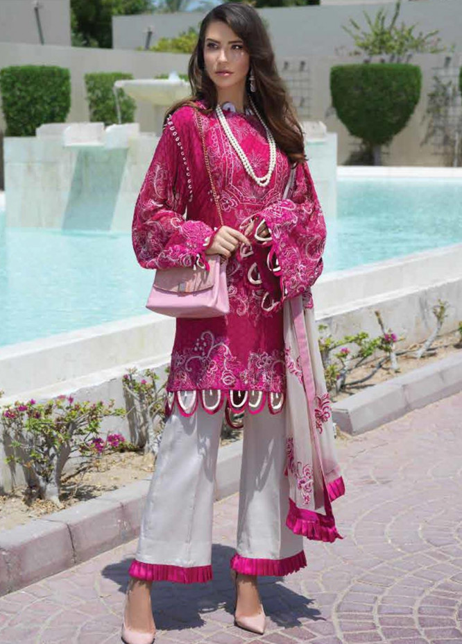 Sarang Embroidered Chiffon Unstitched 3 Piece Suit SIT19F 1 GLAM PUNK - Festive Collection