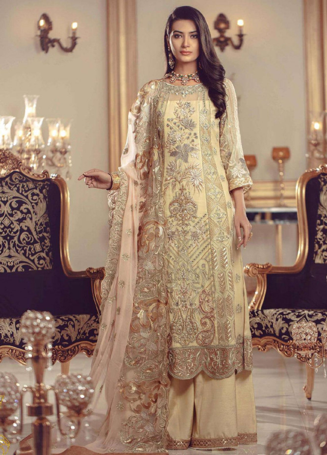 Serene Premium Embroidered Chiffon Unstitched 3 Piece Suit SMP20BL 1002 - Luxury Collection