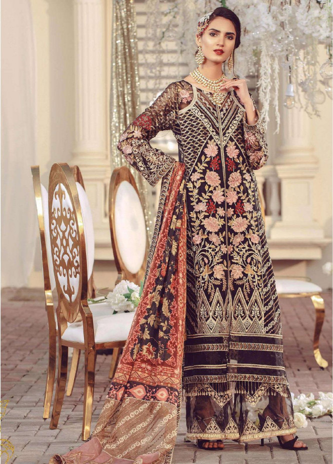 Serene Premium Embroidered Chiffon Unstitched 3 Piece Suit SMP20BL 1005 - Luxury Collection