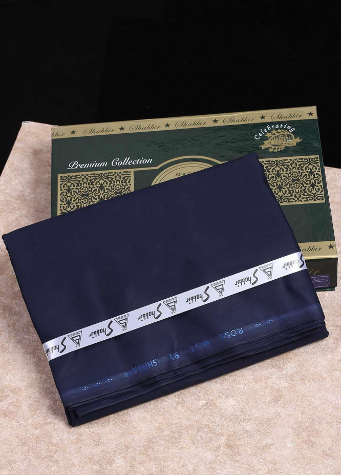 Shabbir Textile Plain Cotton Unstitched Fabric SCH-0053 Navy Blue - Summer Collection