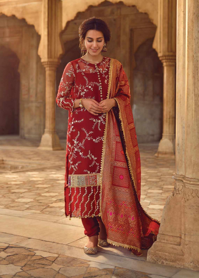 Shahnameh by Qalamkar Embroidered Organza Unstitched 3 Piece Suit QLM19SH 06 - Luxury Collection