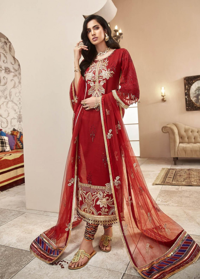 Shanaya by Saadia Asad Embroidered Lawn Unstitched 3 Piece Suit SA20SH D5-A - Festive Collection