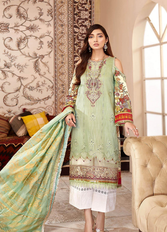 Shanaya by Saadia Asad Embroidered Cotton Net Unstitched 3 Piece Suit SA20SH D7-B - Festive Collection