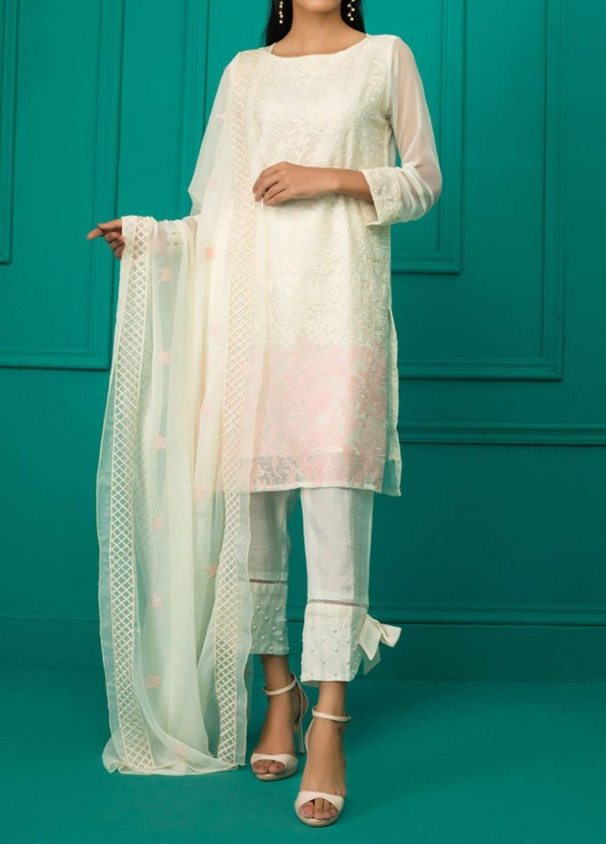 Sheep Casual Chiffon Stitched 2 Piece Suit SC200351 IVORY