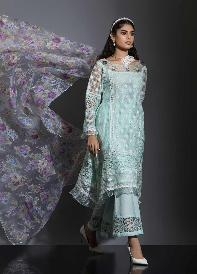 Sidra Mumtaz Embroidered Cotton Net Stitched 3 Piece Suit BARAN