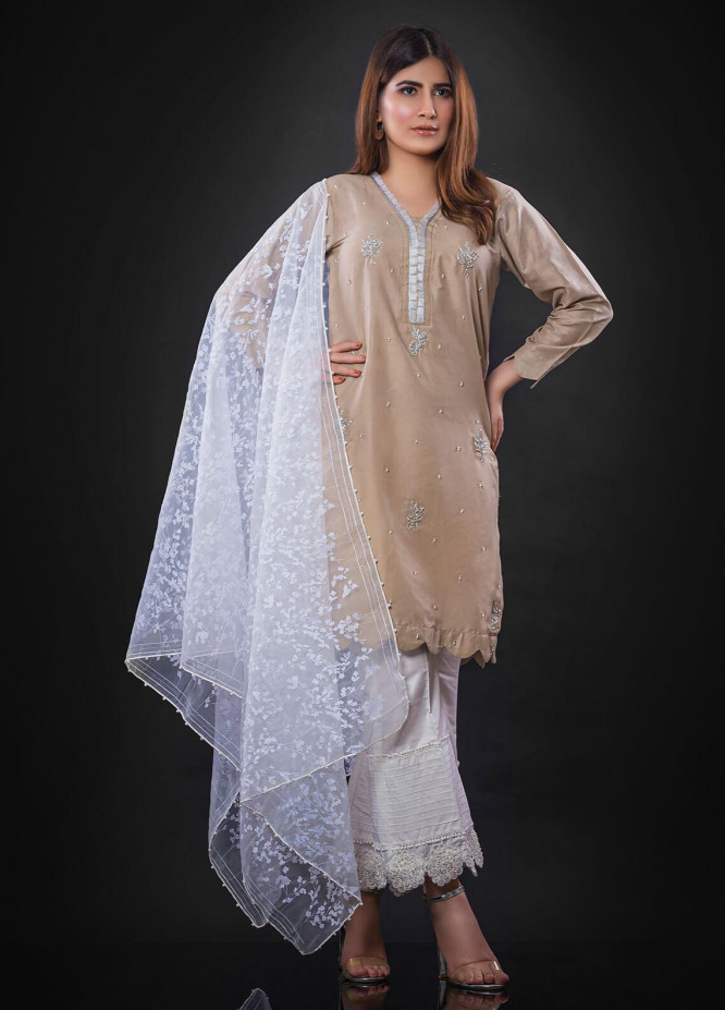 Sidra Mumtaz Embroidered Cotton Silk Stitched 3 Piece Suit TAOS TAUPE