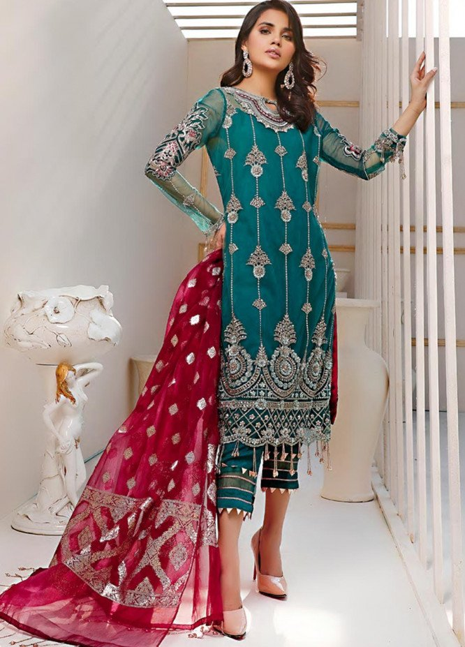 Sifona Embroidered Net Unstitched 3 Piece Suit SF20N 05 FLAMBOYANT TEAL - Luxury Collection