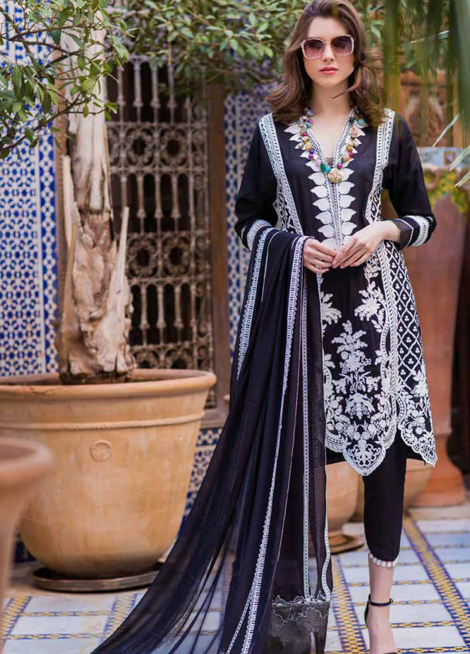 Sobia Nazir Embroidered Lawn Unstitched 3 Piece Suit L20SN 4-B BLACK - Luxury Collection