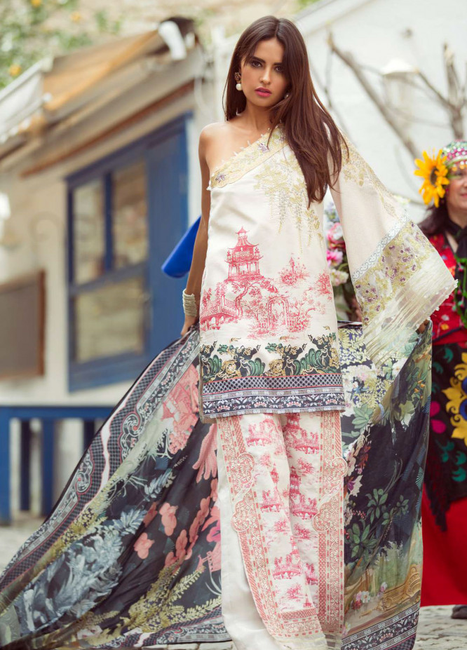 Shiza Hassan Embroidered Lawn Unstitched 3 Piece Suit SZH18L 8B - Spring / Summer Collection